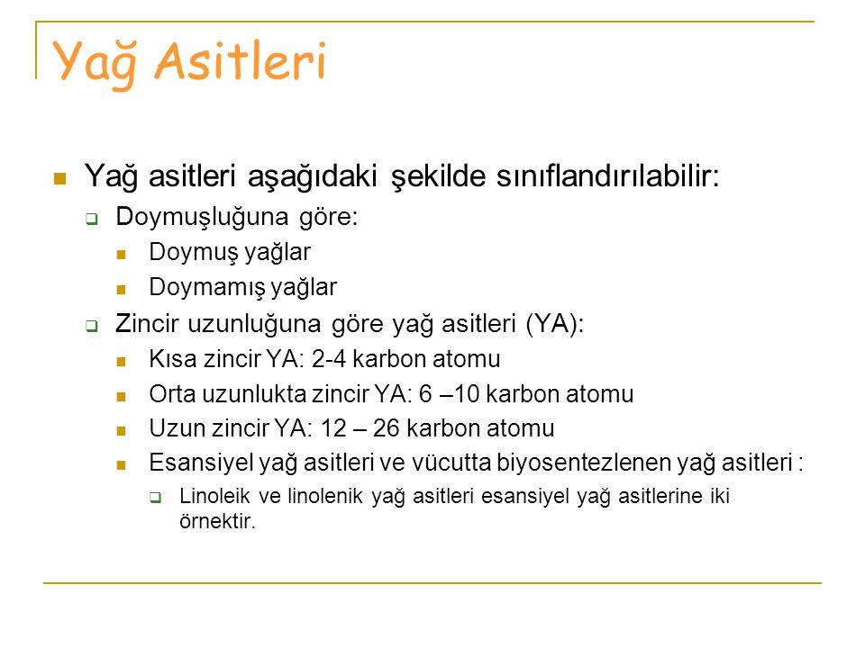 Yağ Asitleri Yağ asitleri aşağıdaki şekilde sınıflandırılabilir: