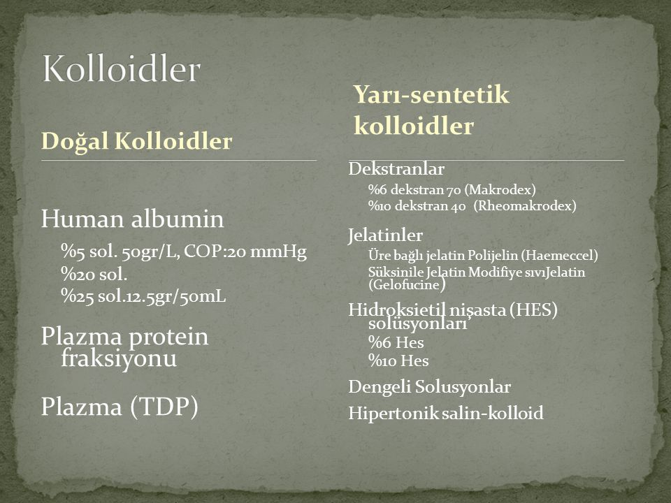 Kolloidler %5 sol. 50gr/L, COP:20 mmHg Yarı-sentetik kolloidler