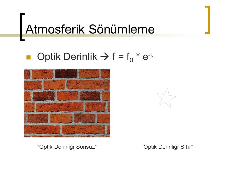Atmosferik Sönümleme Optik Derinlik  f = f0 * e-