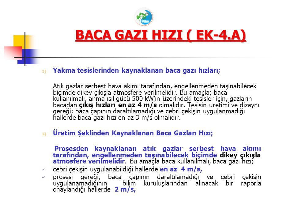 BACA GAZI HIZI ( EK-4.A) Yakma tesislerinden kaynaklanan baca gazı hızları;