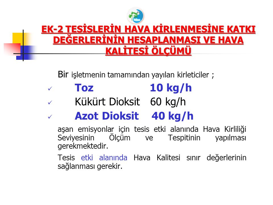 Toz 10 kg/h Kükürt Dioksit 60 kg/h Azot Dioksit 40 kg/h