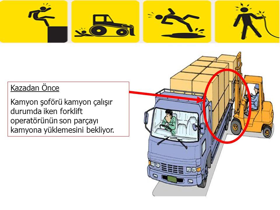 Kazadan Önce Kamyon şoförü kamyon çalışır durumda iken forklift operatörünün son parçayı kamyona yüklemesini bekliyor.