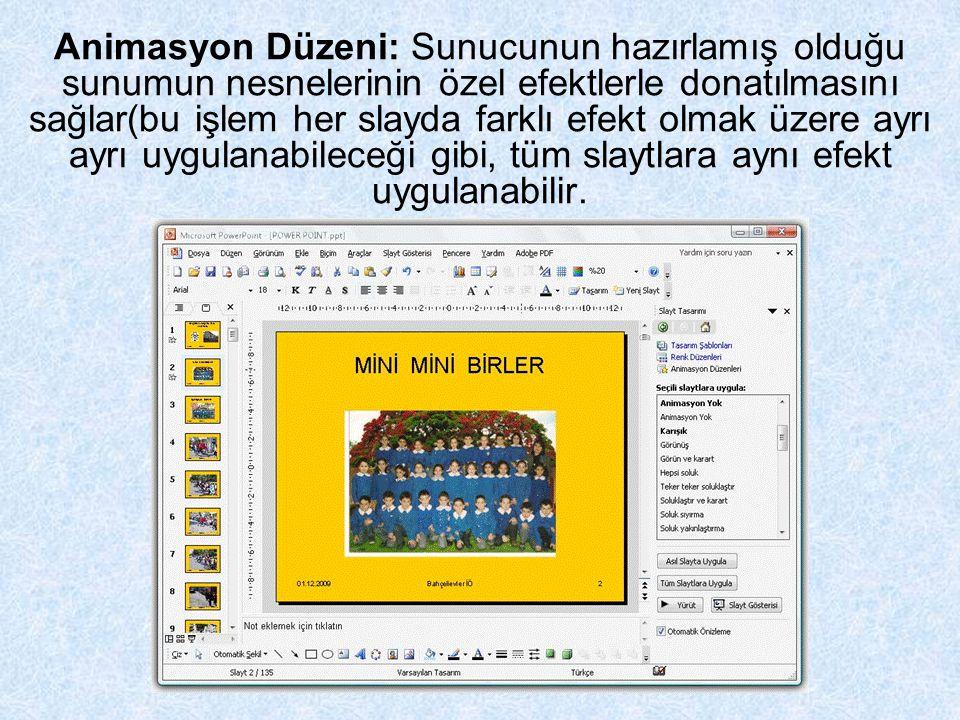 Animasyon Düzeni: Sunucunun hazırlamış olduğu sunumun nesnelerinin özel efektlerle donatılmasını sağlar(bu işlem her slayda farklı efekt olmak üzere ayrı ayrı uygulanabileceği gibi, tüm slaytlara aynı efekt uygulanabilir.