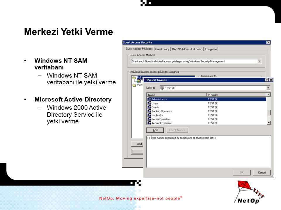 Merkezi Yetki Verme Windows NT SAM veritabanı