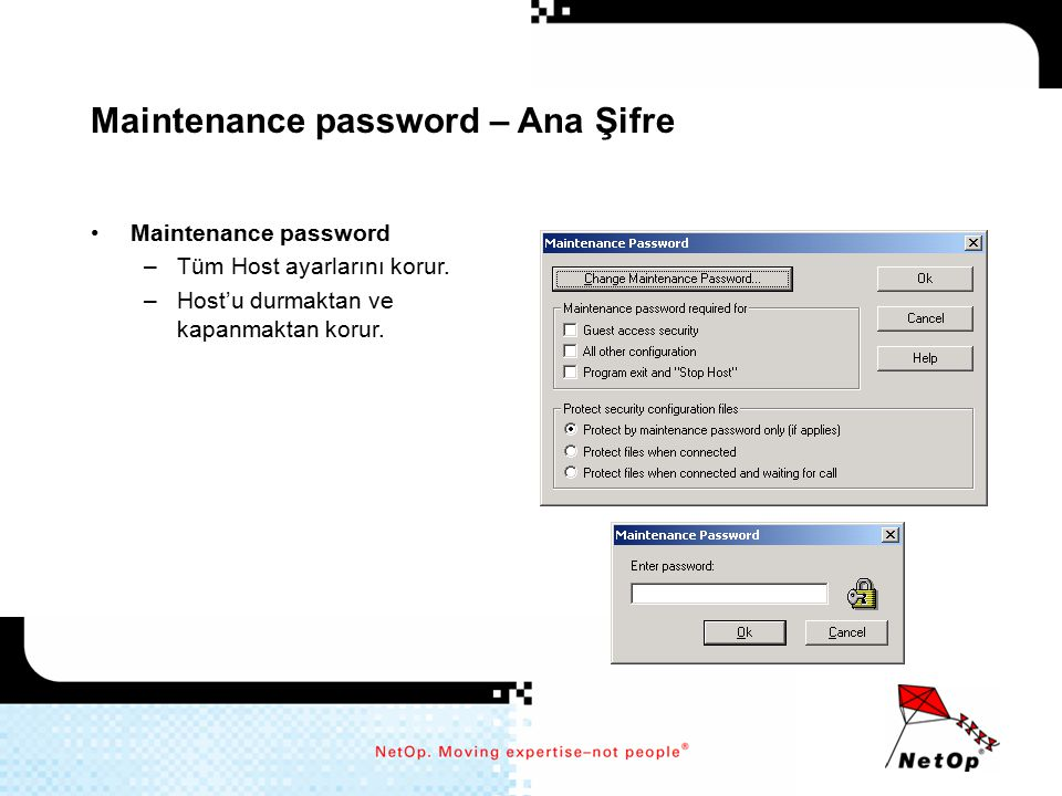 Maintenance password – Ana Şifre