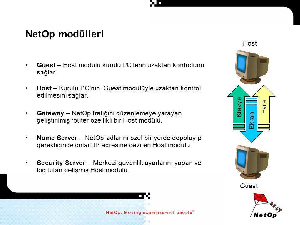 NetOp modülleri Host. Guest – Host modülü kurulu PC'lerin uzaktan kontrolünü sağlar.