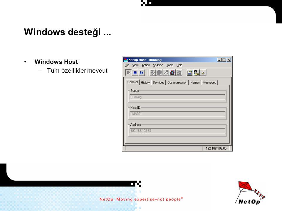 Windows desteği ... Windows Host Tüm özellikler mevcut