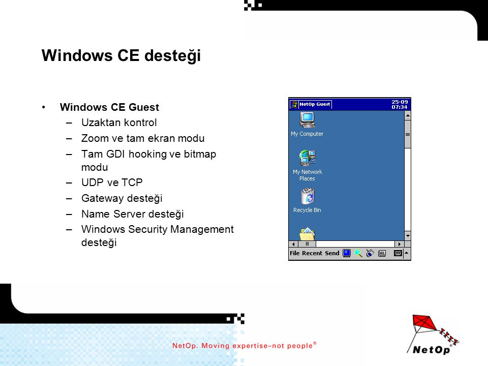 Windows CE desteği Windows CE Guest Uzaktan kontrol