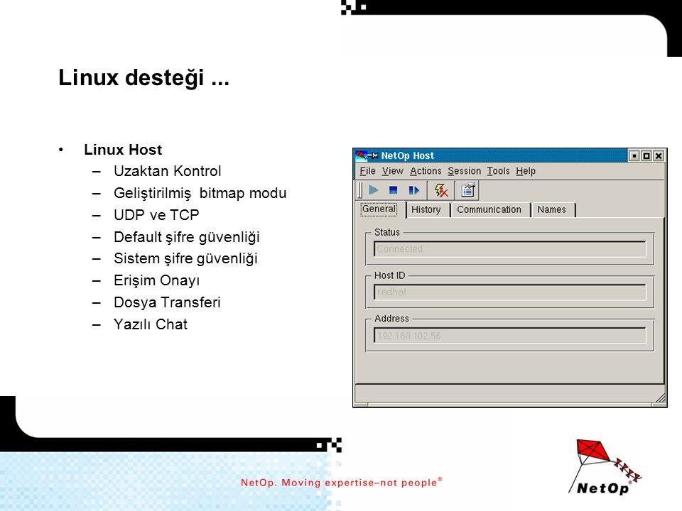 Linux desteği ... Linux Host Uzaktan Kontrol Geliştirilmiş bitmap modu