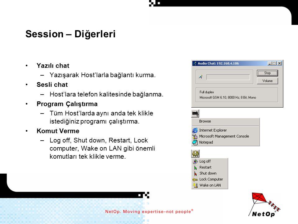 Session – Diğerleri Yazılı chat Yazışarak Host'larla bağlantı kurma.