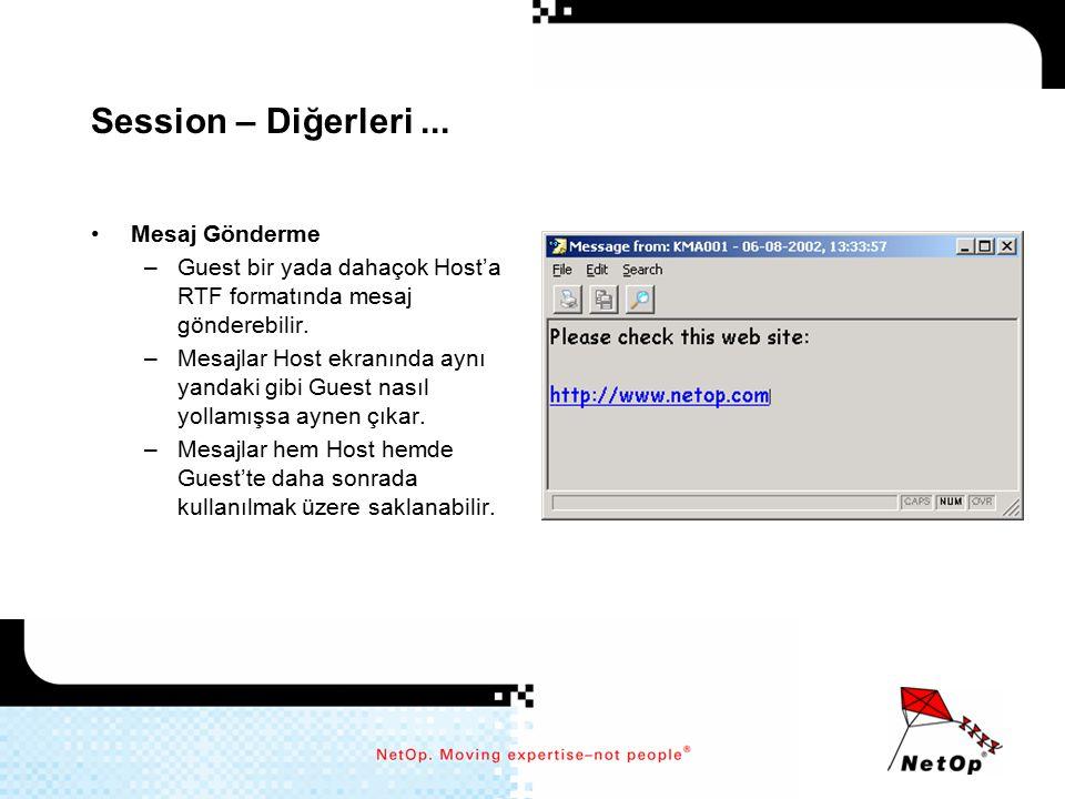 Session – Diğerleri ... Mesaj Gönderme