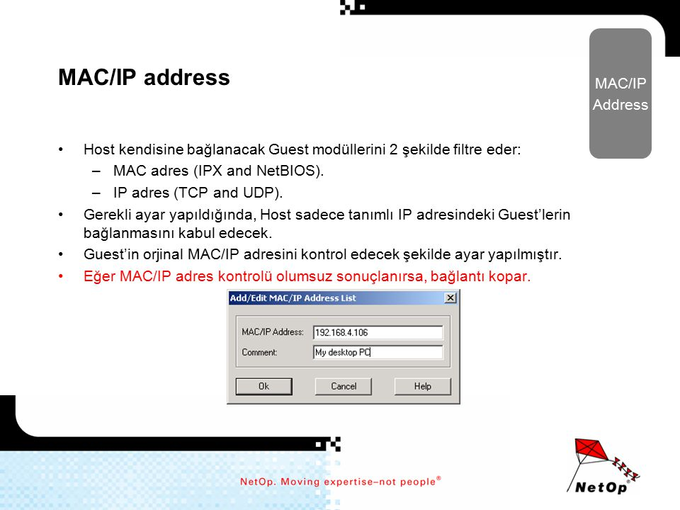 MAC/IP address MAC/IP Address