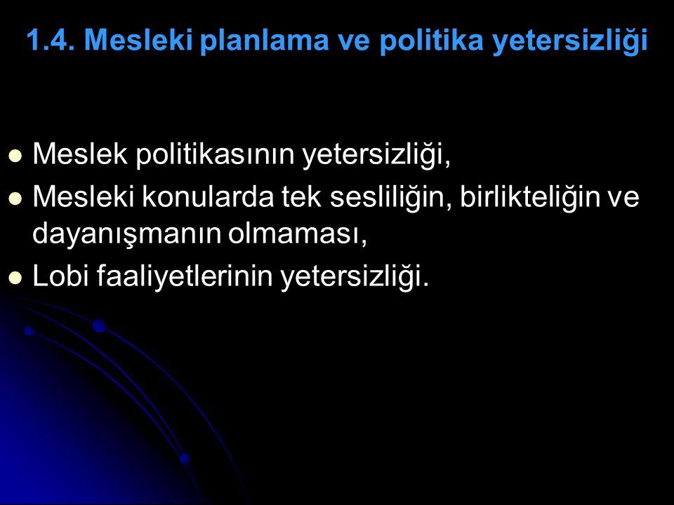 1.4. Mesleki planlama ve politika yetersizliği