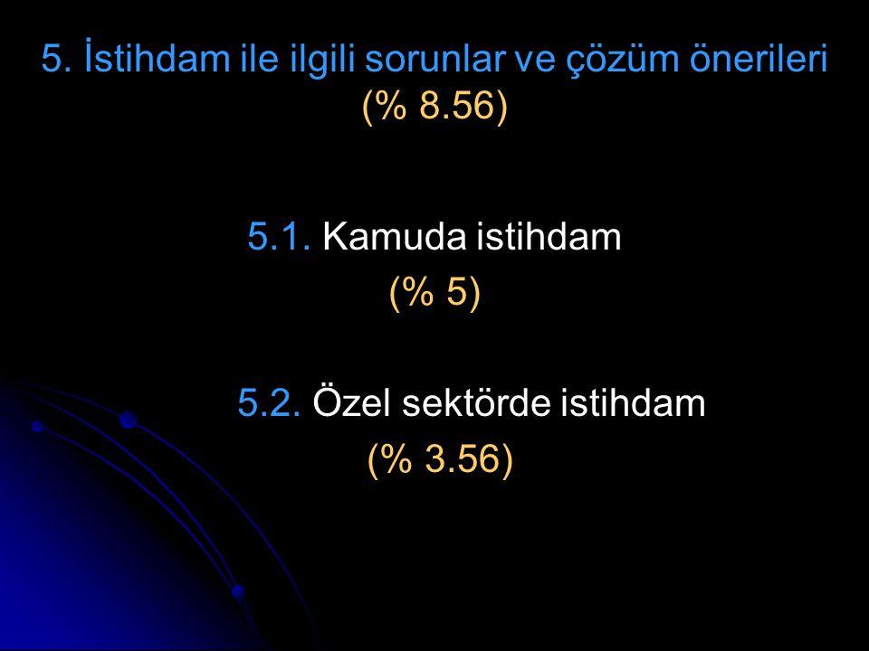 5. İstihdam ile ilgili sorunlar ve çözüm önerileri (% 8.56)