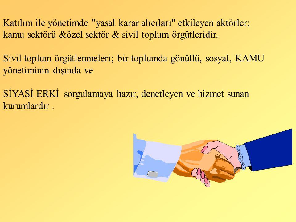 Katılım ile yönetimde yasal karar alıcıları etkileyen aktörler;
