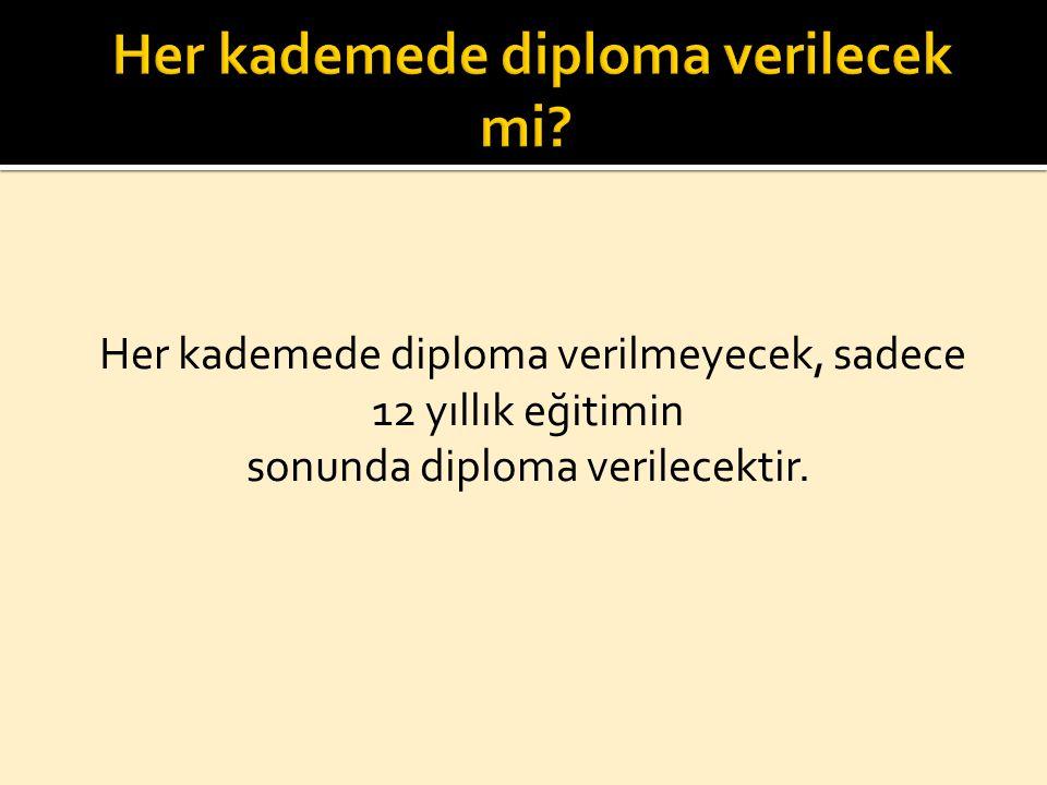 Her kademede diploma verilecek mi