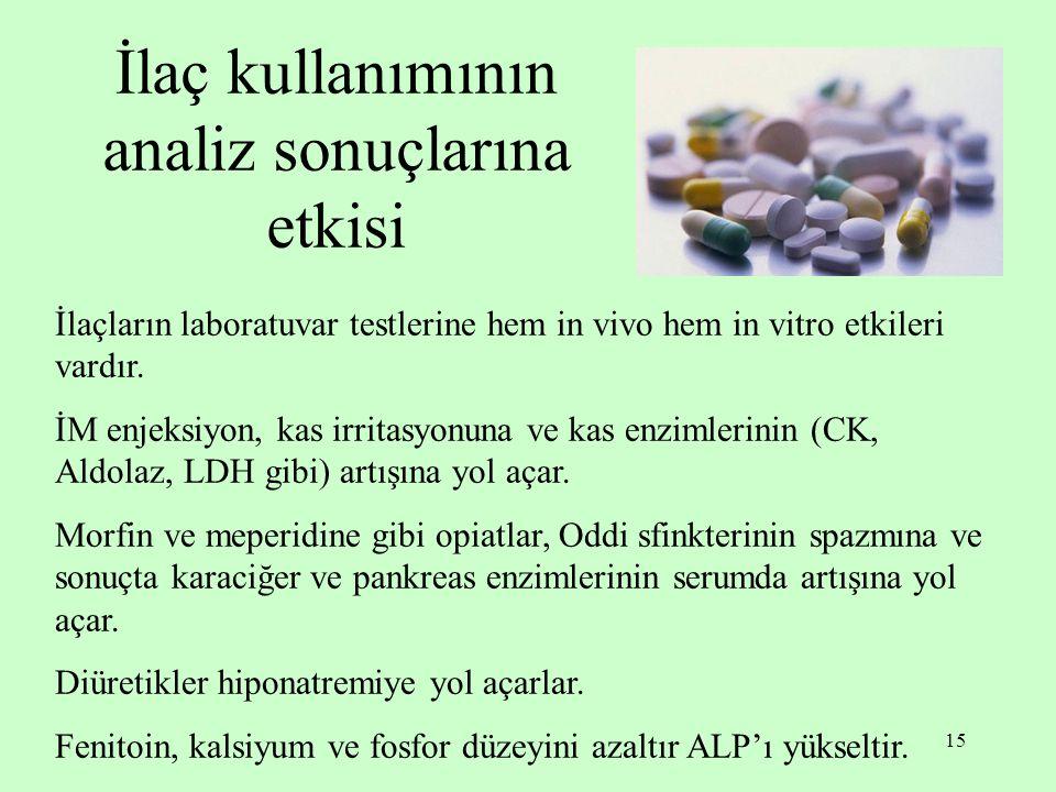 İlaç kullanımının analiz sonuçlarına etkisi