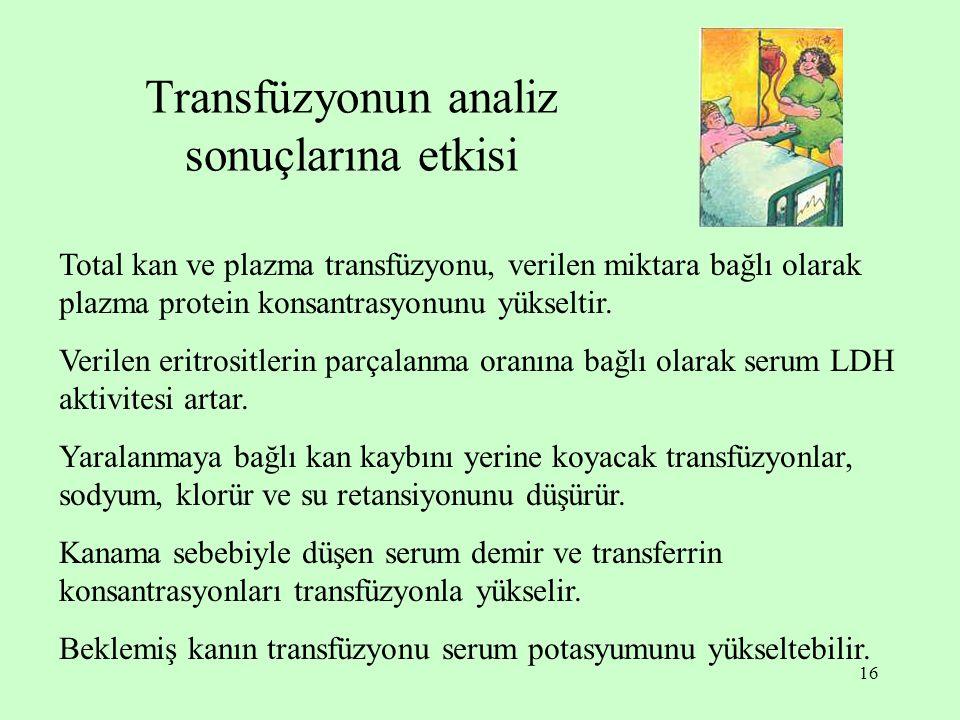 Transfüzyonun analiz sonuçlarına etkisi
