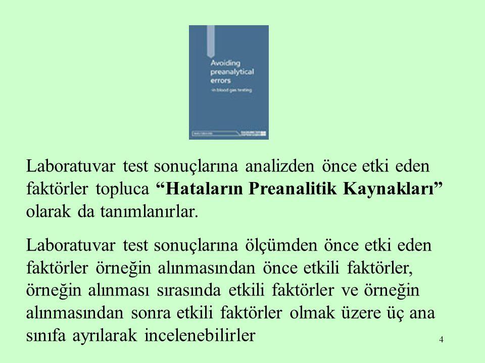 Laboratuvar test sonuçlarına analizden önce etki eden faktörler topluca Hataların Preanalitik Kaynakları olarak da tanımlanırlar.