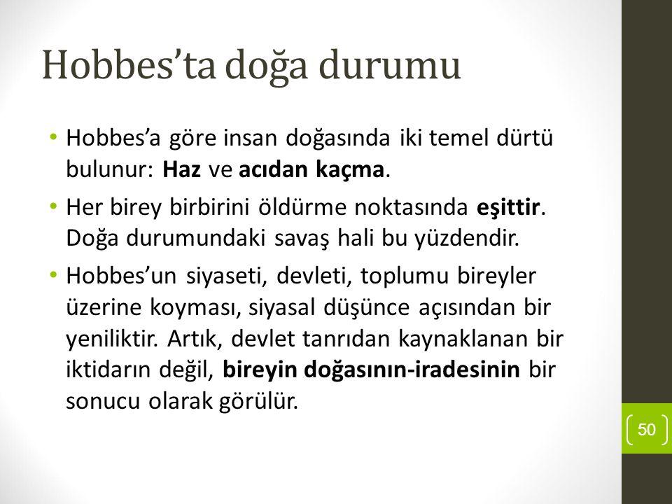 Hobbes'ta doğa durumu Hobbes'a göre insan doğasında iki temel dürtü bulunur: Haz ve acıdan kaçma.