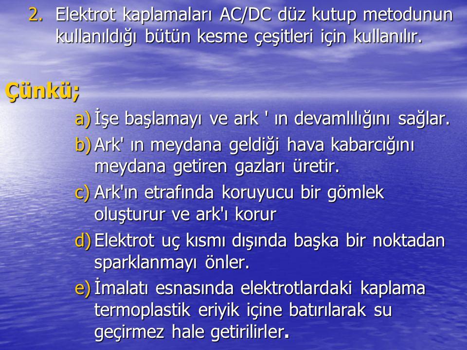 Elektrot kaplamaları AC/DC düz kutup metodunun kullanıldığı bütün kesme çeşitleri için kullanılır.