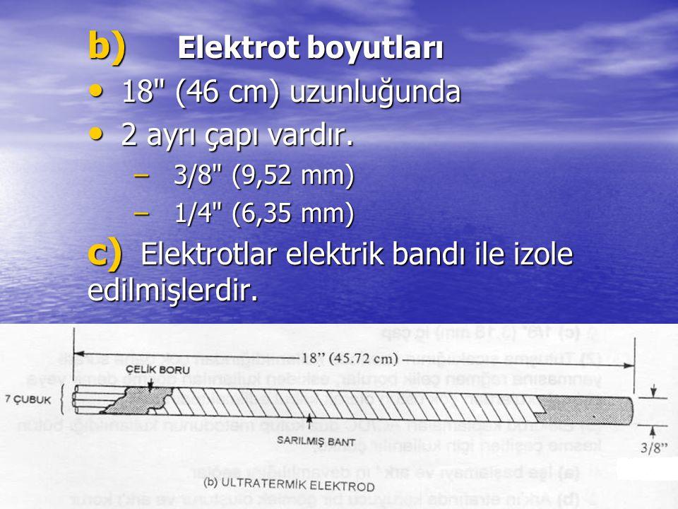 Elektrotlar elektrik bandı ile izole edilmişlerdir.