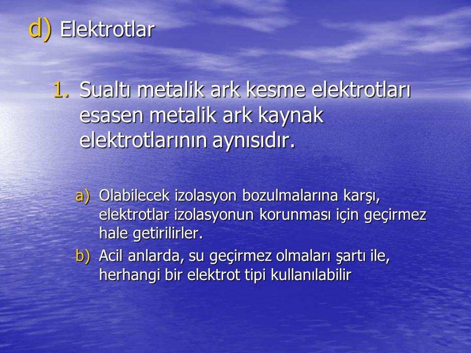 Elektrotlar Sualtı metalik ark kesme elektrotları esasen metalik ark kaynak elektrotlarının aynısıdır.