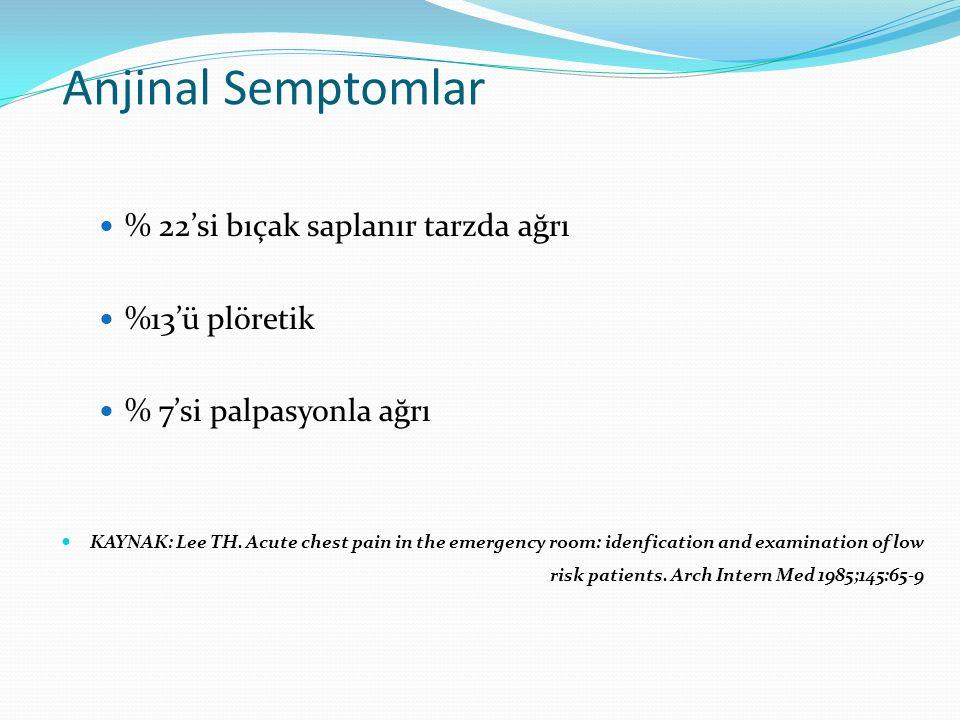 Anjinal Semptomlar % 22'si bıçak saplanır tarzda ağrı %13'ü plöretik
