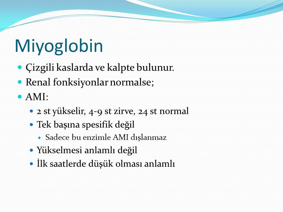 Miyoglobin Çizgili kaslarda ve kalpte bulunur.