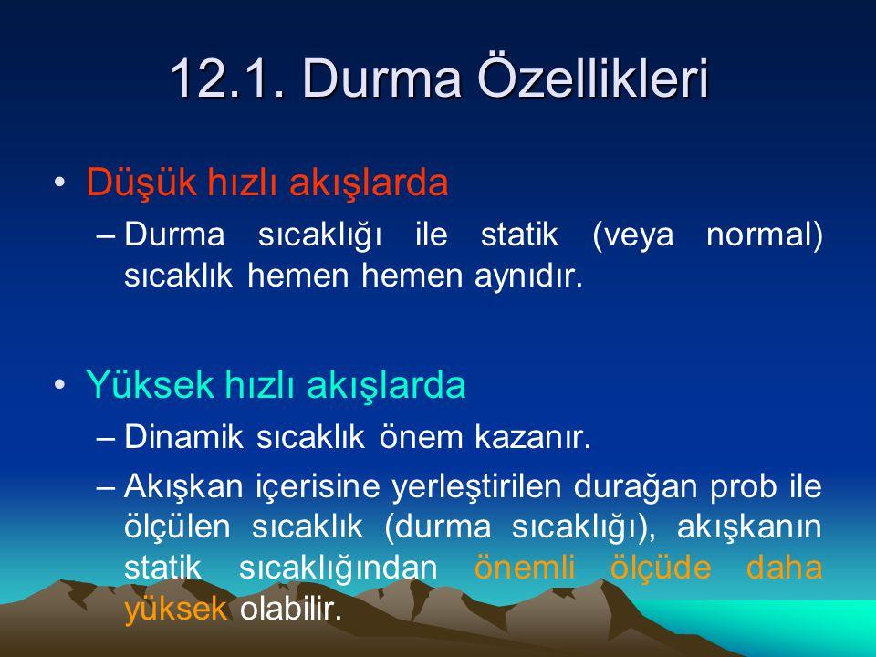 12.1. Durma Özellikleri Düşük hızlı akışlarda Yüksek hızlı akışlarda