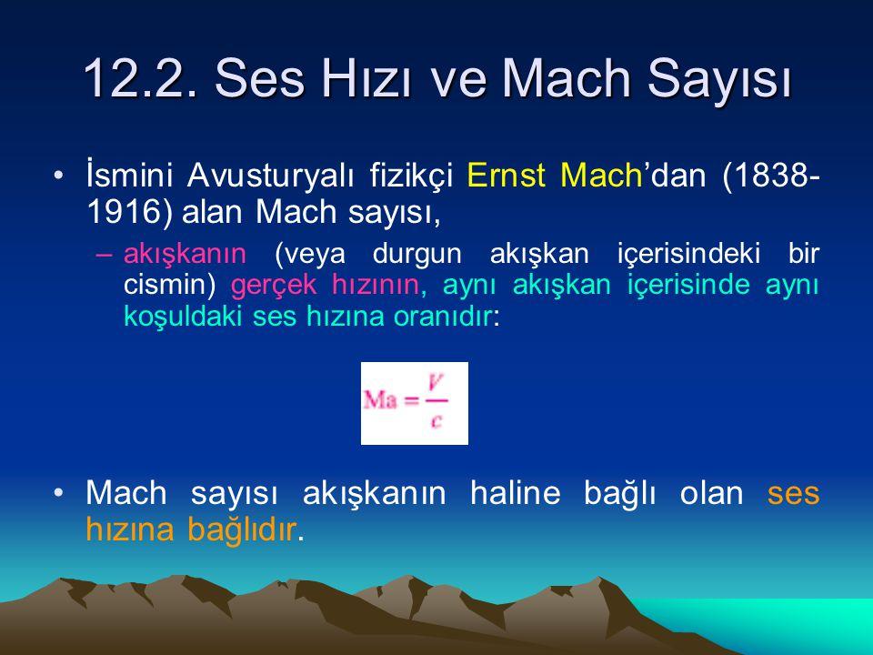12.2. Ses Hızı ve Mach Sayısı İsmini Avusturyalı fizikçi Ernst Mach'dan (1838-1916) alan Mach sayısı,