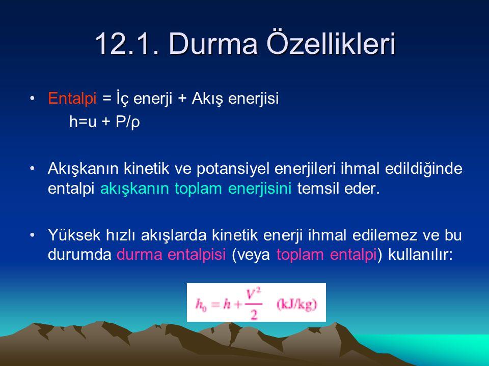 12.1. Durma Özellikleri Entalpi = İç enerji + Akış enerjisi h=u + P/ρ
