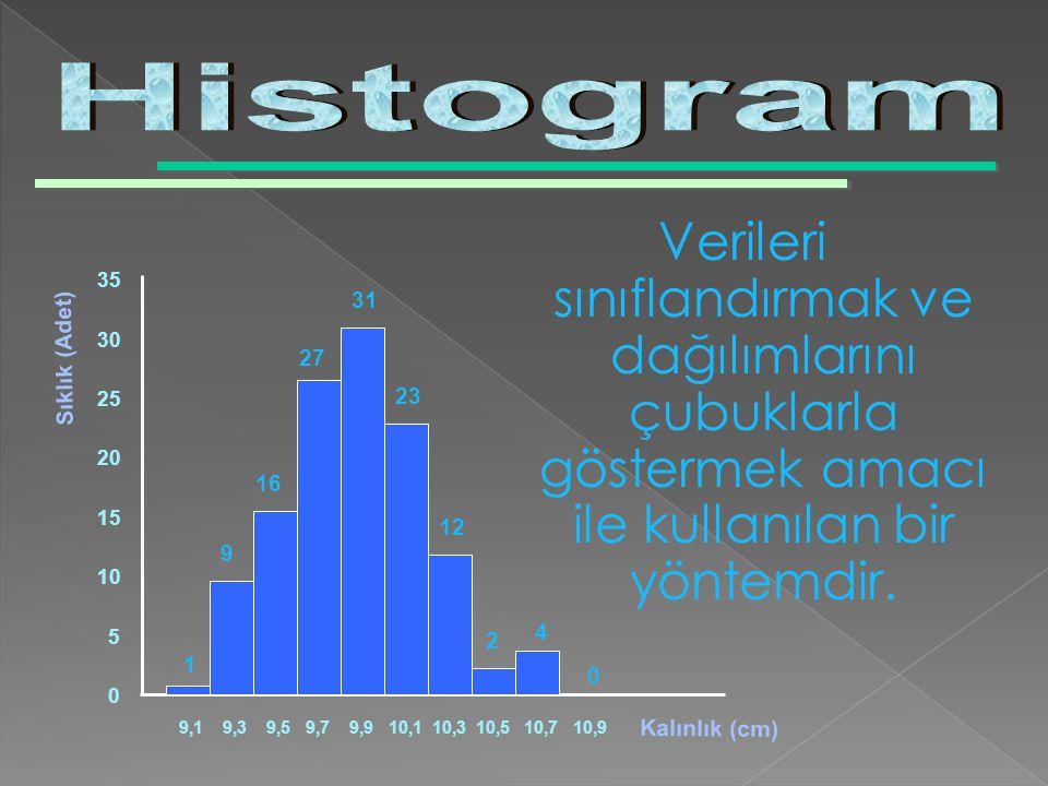 Histogram Verileri sınıflandırmak ve dağılımlarını çubuklarla göstermek amacı ile kullanılan bir yöntemdir.