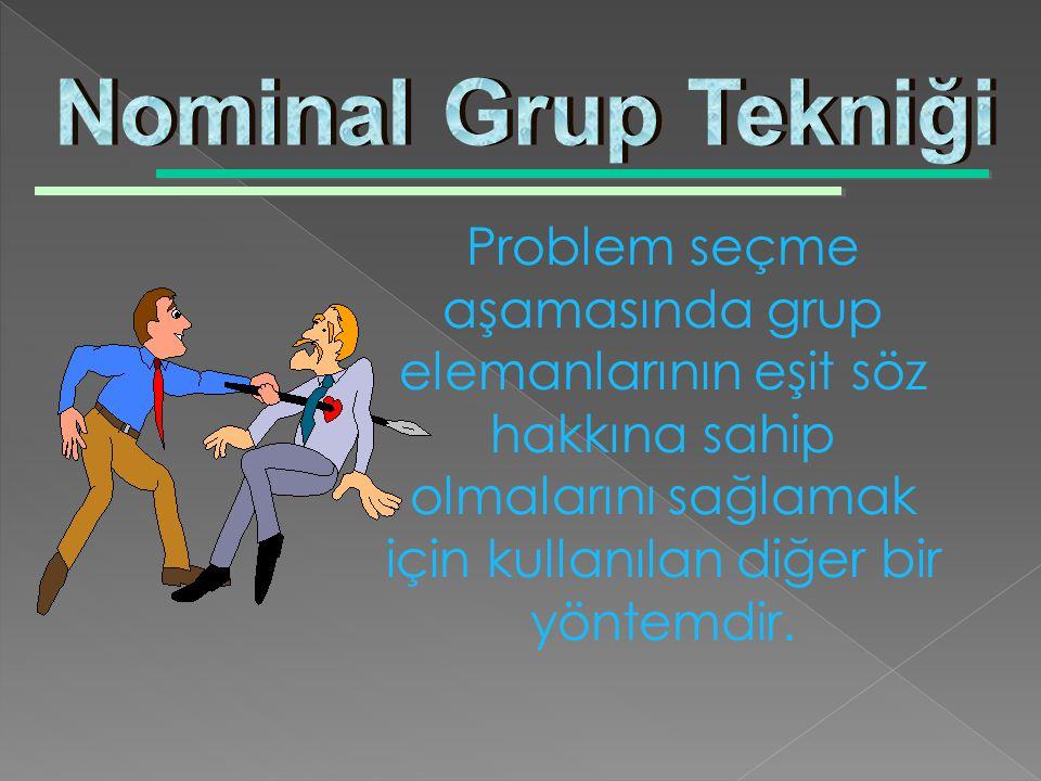 Nominal Grup Tekniği Problem seçme aşamasında grup elemanlarının eşit söz hakkına sahip olmalarını sağlamak için kullanılan diğer bir yöntemdir.