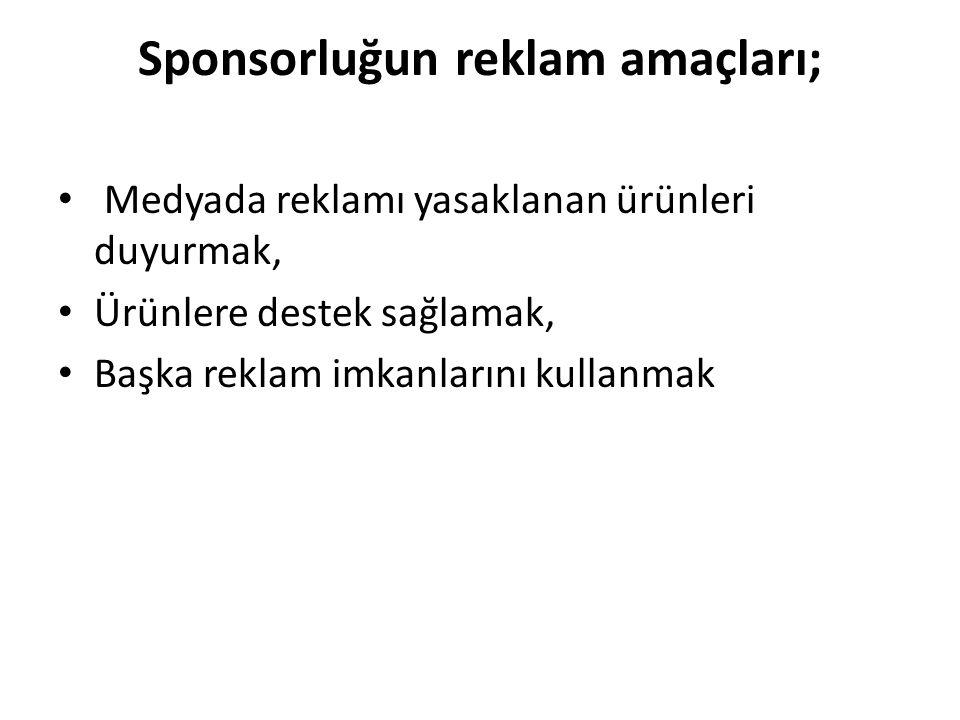 Sponsorluğun reklam amaçları;