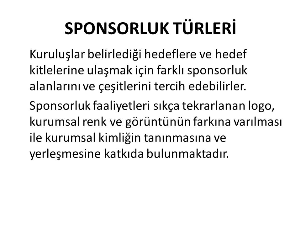 SPONSORLUK TÜRLERİ