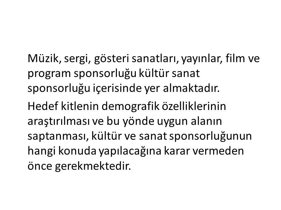 Müzik, sergi, gösteri sanatları, yayınlar, film ve program sponsorluğu kültür sanat sponsorluğu içerisinde yer almaktadır.