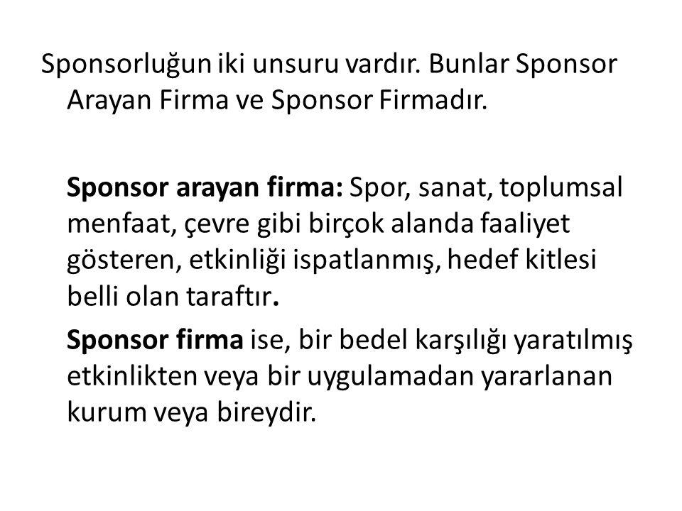 Sponsorluğun iki unsuru vardır