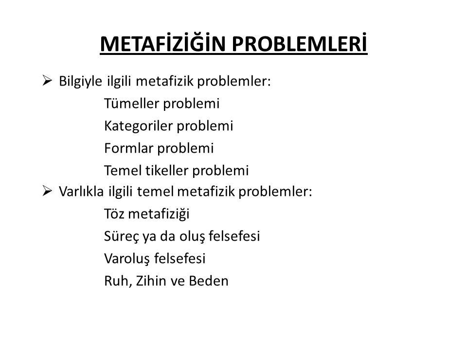 METAFİZİĞİN PROBLEMLERİ