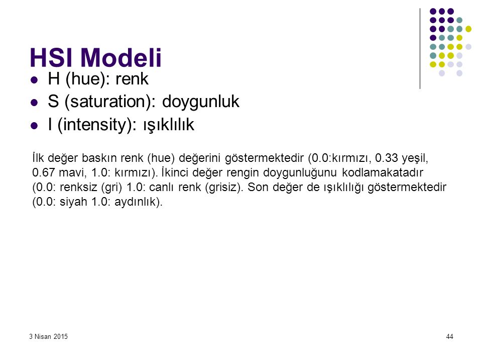 HSI Modeli H (hue): renk S (saturation): doygunluk