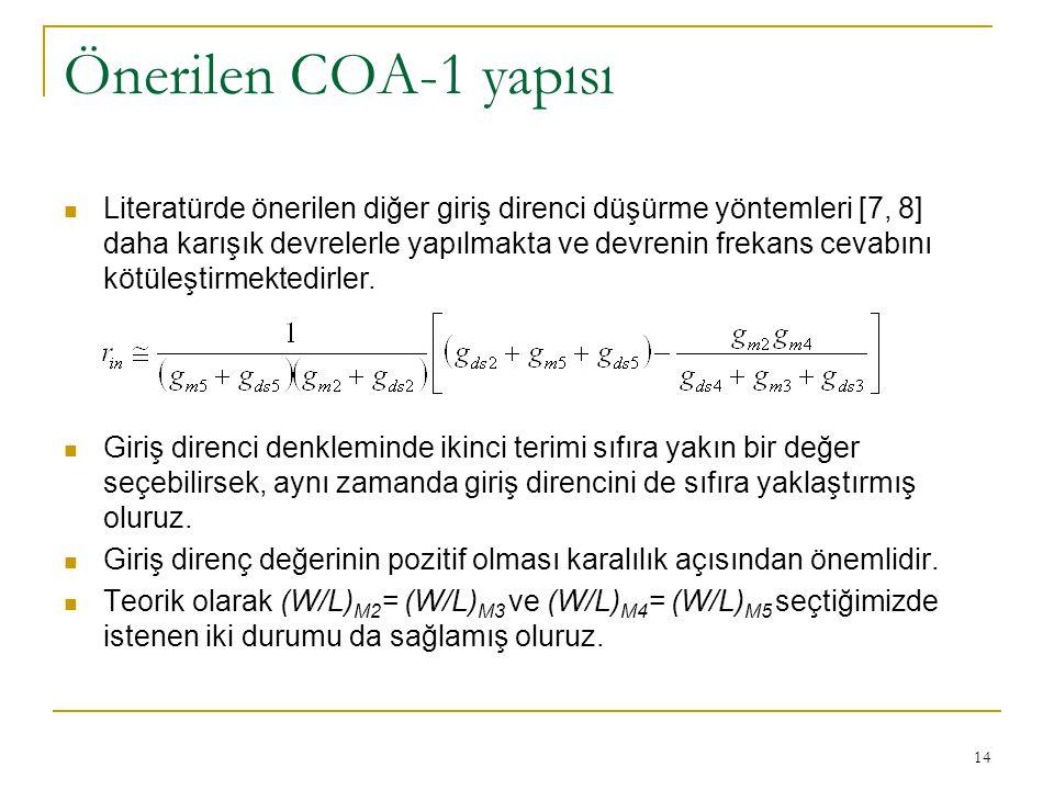 Önerilen COA-1 yapısı