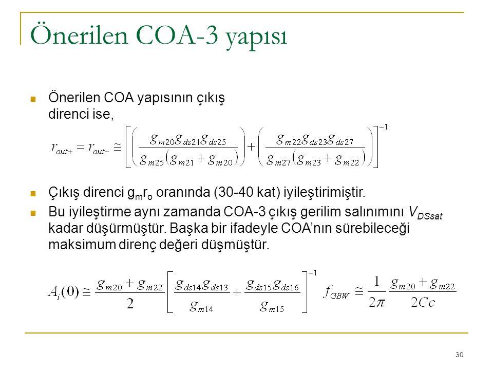 Önerilen COA-3 yapısı Önerilen COA yapısının çıkış direnci ise,