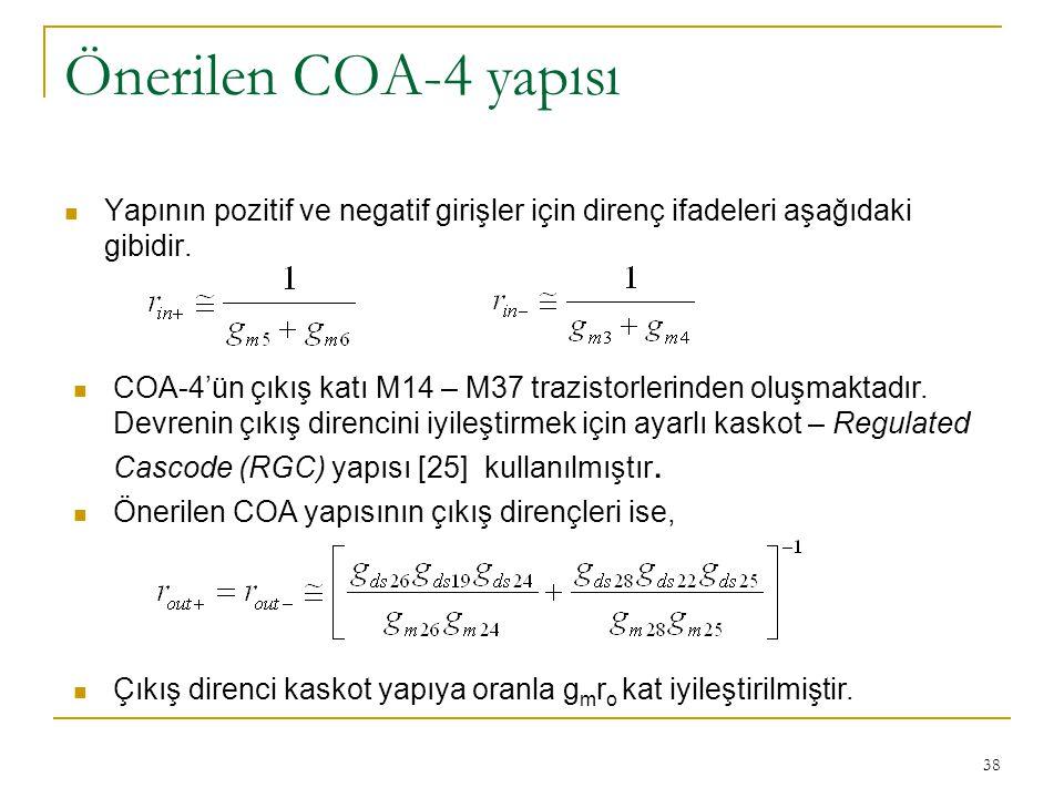 Önerilen COA-4 yapısı Yapının pozitif ve negatif girişler için direnç ifadeleri aşağıdaki gibidir.
