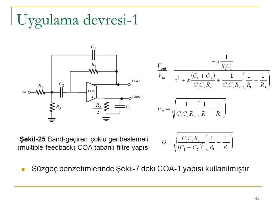 Uygulama devresi-1 Şekil-25 Band-geçiren çoklu geribeslemeli (multiple feedback) COA tabanlı filtre yapısı.