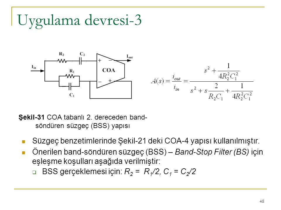 Şekil-31 COA tabanlı 2. dereceden band-söndüren süzgeç (BSS) yapısı