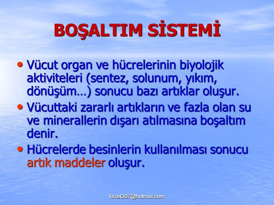 BOŞALTIM SİSTEMİ Vücut organ ve hücrelerinin biyolojik aktiviteleri (sentez, solunum, yıkım, dönüşüm…) sonucu bazı artıklar oluşur.