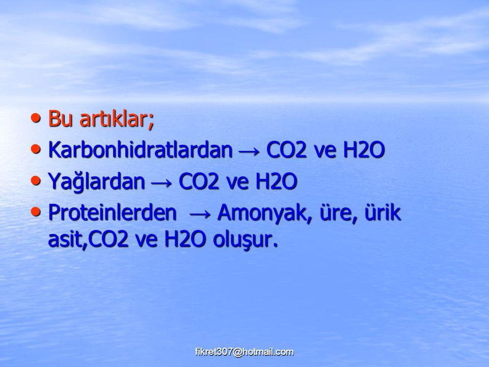 Karbonhidratlardan → CO2 ve H2O Yağlardan → CO2 ve H2O