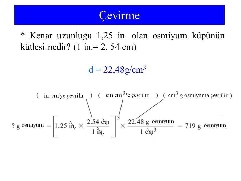 Çevirme * Kenar uzunluğu 1,25 in. olan osmiyum küpünün kütlesi nedir.