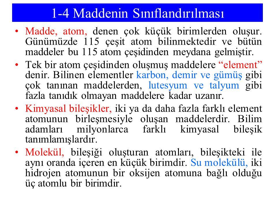 1-4 Maddenin Sınıflandırılması