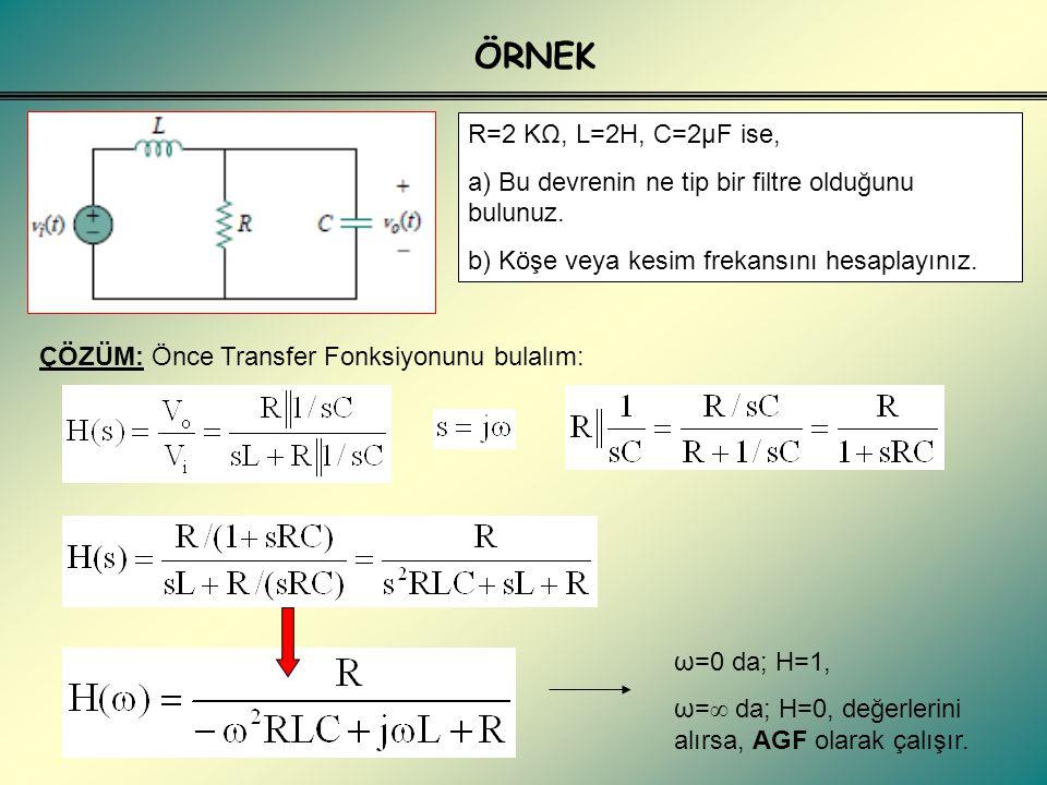 ÖRNEK R=2 KΩ, L=2H, C=2μF ise, a) Bu devrenin ne tip bir filtre olduğunu bulunuz. b) Köşe veya kesim frekansını hesaplayınız.